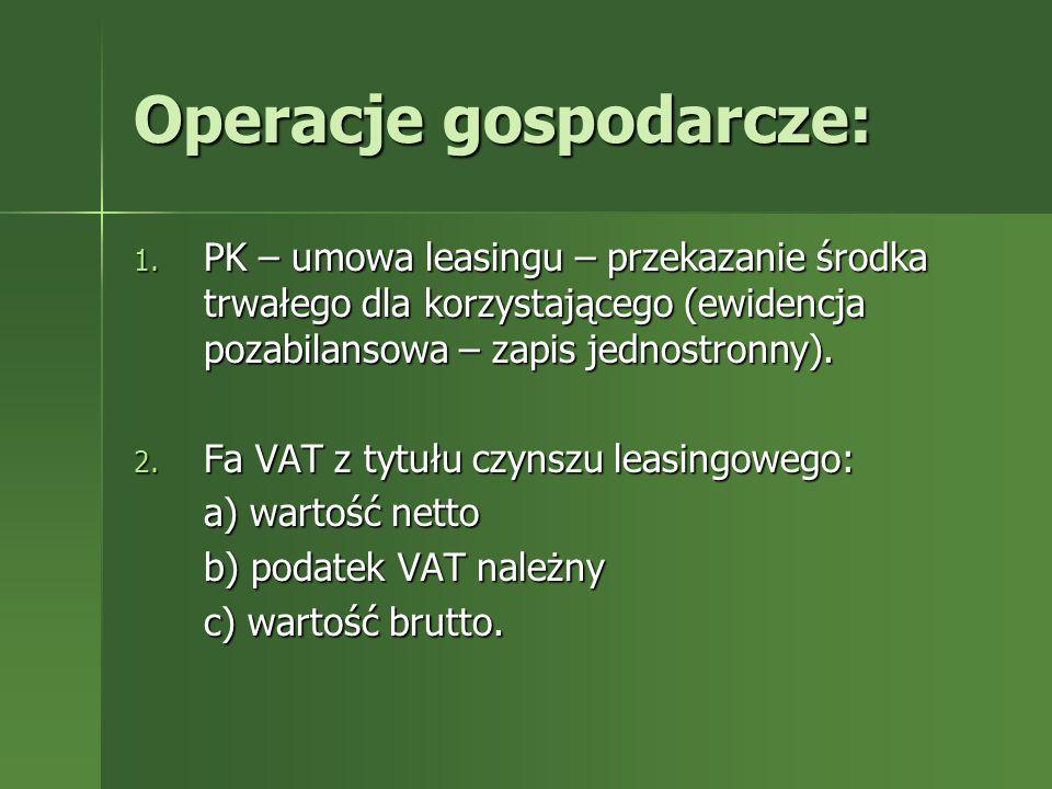 Operacje gospodarcze: 1. PK – umowa leasingu – przekazanie środka trwałego dla korzystającego (ewidencja pozabilansowa – zapis jednostronny). 2. Fa VA