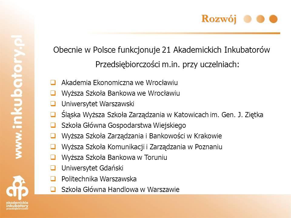 Rozwój Obecnie w Polsce funkcjonuje 21 Akademickich Inkubatorów Przedsiębiorczości m.in. przy uczelniach: Akademia Ekonomiczna we Wrocławiu Wyższa Szk
