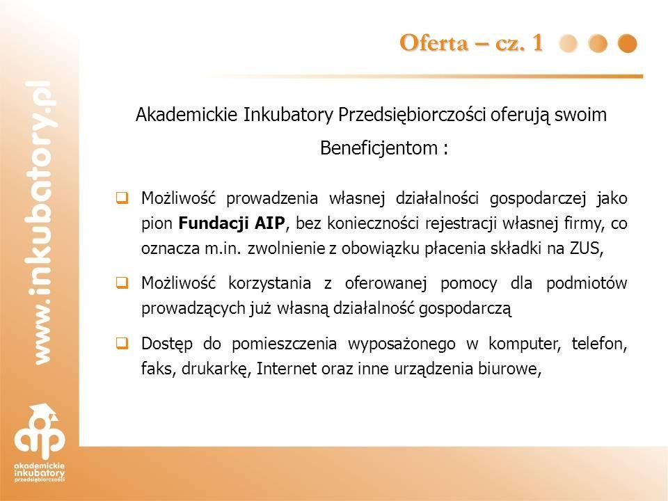 Oferta – cz. 1 Akademickie Inkubatory Przedsiębiorczości oferują swoim Beneficjentom : Możliwość prowadzenia własnej działalności gospodarczej jako pi