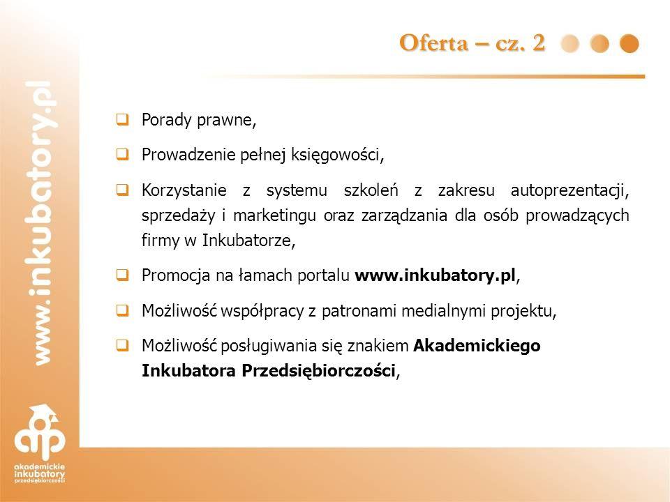 Porady prawne, Prowadzenie pełnej księgowości, Korzystanie z systemu szkoleń z zakresu autoprezentacji, sprzedaży i marketingu oraz zarządzania dla os
