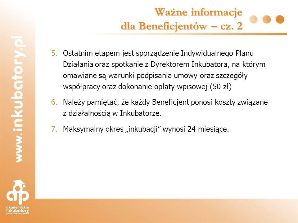 5.Ostatnim etapem jest sporządzenie Indywidualnego Planu Działania oraz spotkanie z Dyrektorem Inkubatora, na którym omawiane są warunki podpisania um