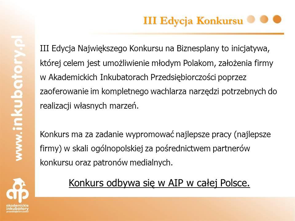 III Edycja Konkursu III Edycja Największego Konkursu na Biznesplany to inicjatywa, której celem jest umożliwienie młodym Polakom, założenia firmy w Ak