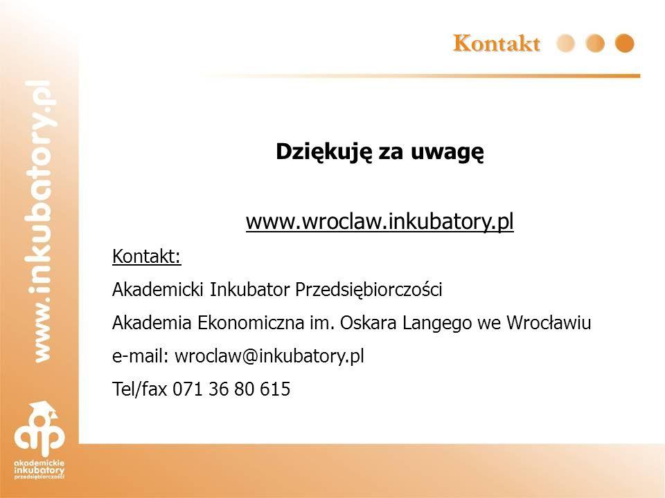 Kontakt Dziękuję za uwagę www.wroclaw.inkubatory.pl Kontakt: Akademicki Inkubator Przedsiębiorczości Akademia Ekonomiczna im. Oskara Langego we Wrocła