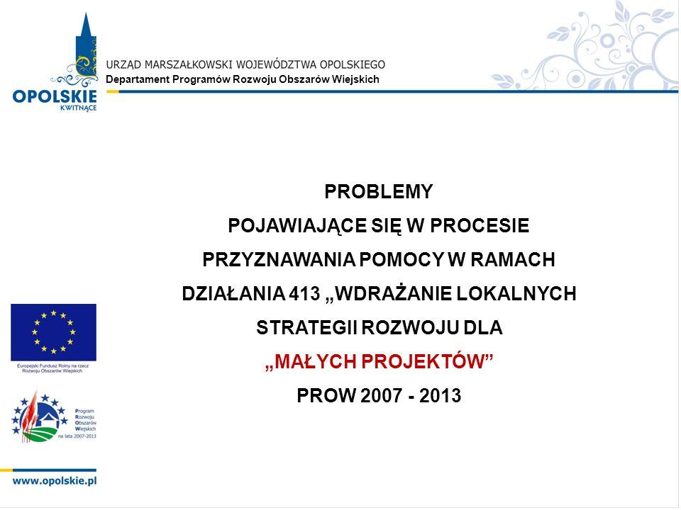 Departament Programów Rozwoju Obszarów Wiejskich PROBLEMY POJAWIAJĄCE SIĘ W PROCESIE PRZYZNAWANIA POMOCY W RAMACH DZIAŁANIA 413 WDRAŻANIE LOKALNYCH STRATEGII ROZWOJU DLA MAŁYCH PROJEKTÓW PROW 2007 - 2013