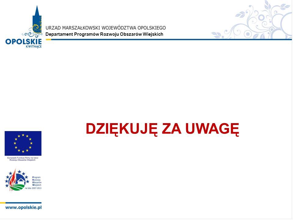 Departament Programów Rozwoju Obszarów Wiejskich DZIĘKUJĘ ZA UWAGĘ