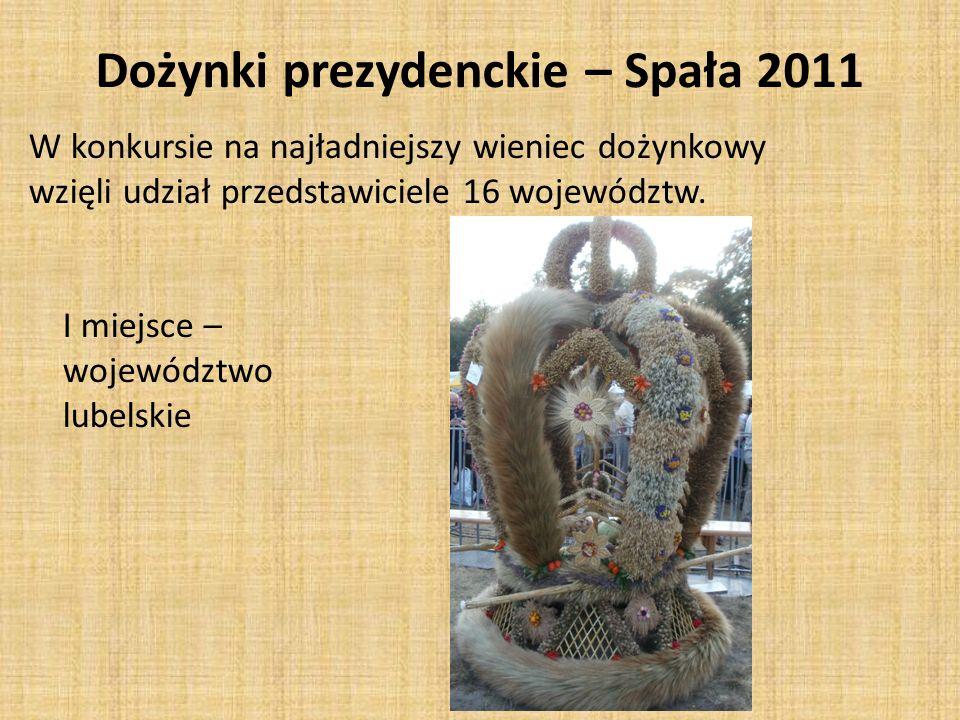 W konkursie na najładniejszy wieniec dożynkowy wzięli udział przedstawiciele 16 województw. I miejsce – województwo lubelskie Dożynki prezydenckie – S