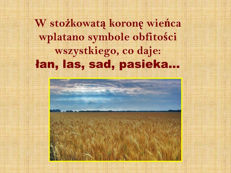 W sto ż kowat ą koron ę wie ń ca wplatano symbole obfito ś ci wszystkiego, co daje: łan, las, sad, pasieka…