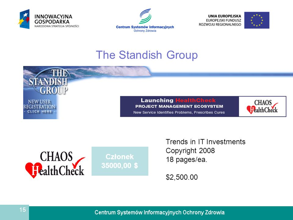 15 The Standish Group Członek 35000,00 $ Trends in IT Investments Copyright 2008 18 pages/ea.