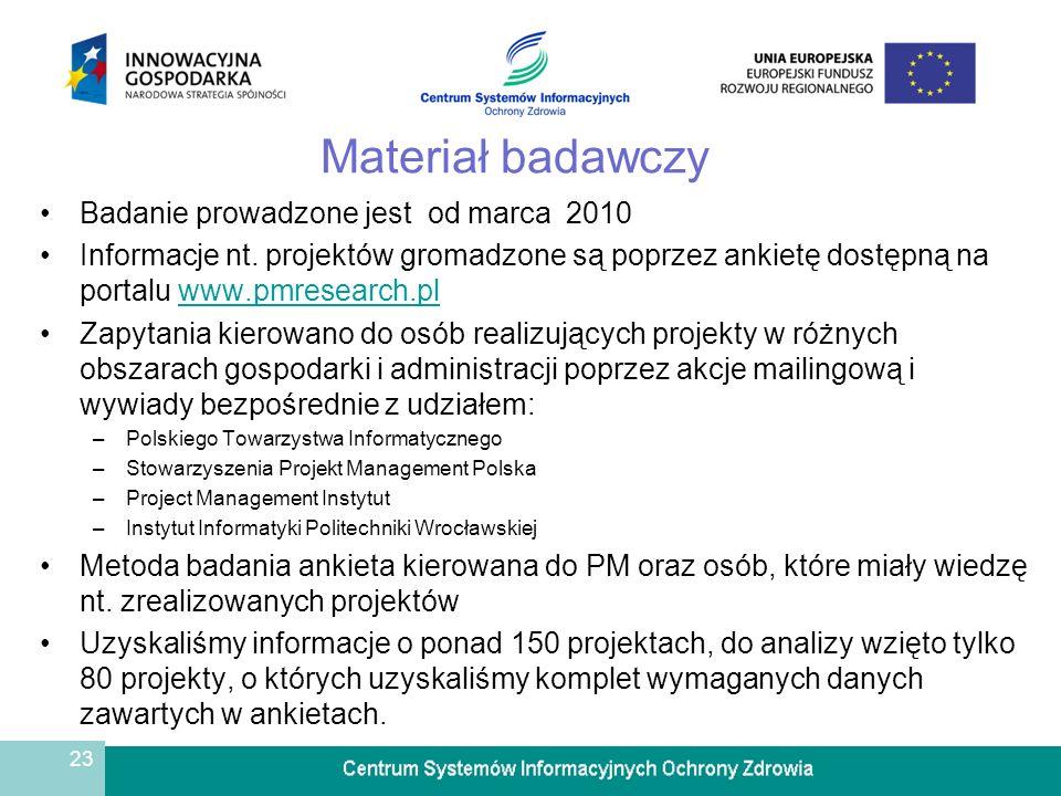 23 Materiał badawczy Badanie prowadzone jest od marca 2010 Informacje nt. projektów gromadzone są poprzez ankietę dostępną na portalu www.pmresearch.p
