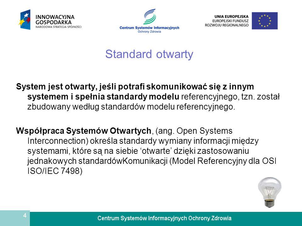4 Standard otwarty System jest otwarty, jeśli potrafi skomunikować się z innym systemem i spełnia standardy modelu referencyjnego, tzn. został zbudowa