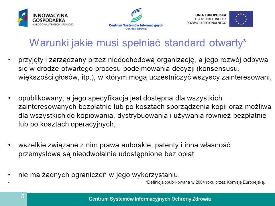 5 Warunki jakie musi spełniać standard otwarty* przyjęty i zarządzany przez niedochodową organizację, a jego rozwój odbywa się w drodze otwartego proc