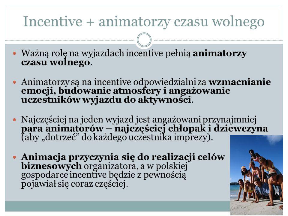 Incentive + animatorzy czasu wolnego Ważną rolę na wyjazdach incentive pełnią animatorzy czasu wolnego.