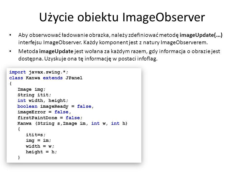 Użycie obiektu ImageObserver Aby obserwować ładowanie obrazka, należy zdefiniować metodę imageUpdate(...) interfejsu ImageObserver. Każdy komponent je