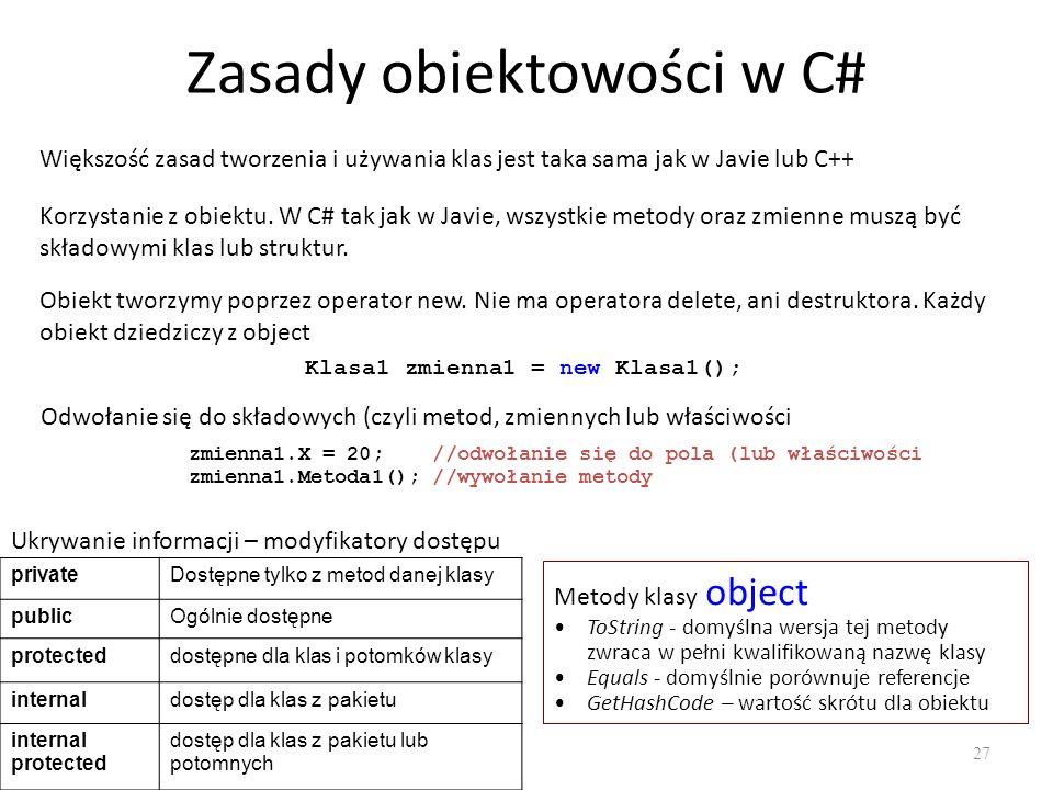 Zasady obiektowości w C# 27 Większość zasad tworzenia i używania klas jest taka sama jak w Javie lub C++ Korzystanie z obiektu. W C# tak jak w Javie,