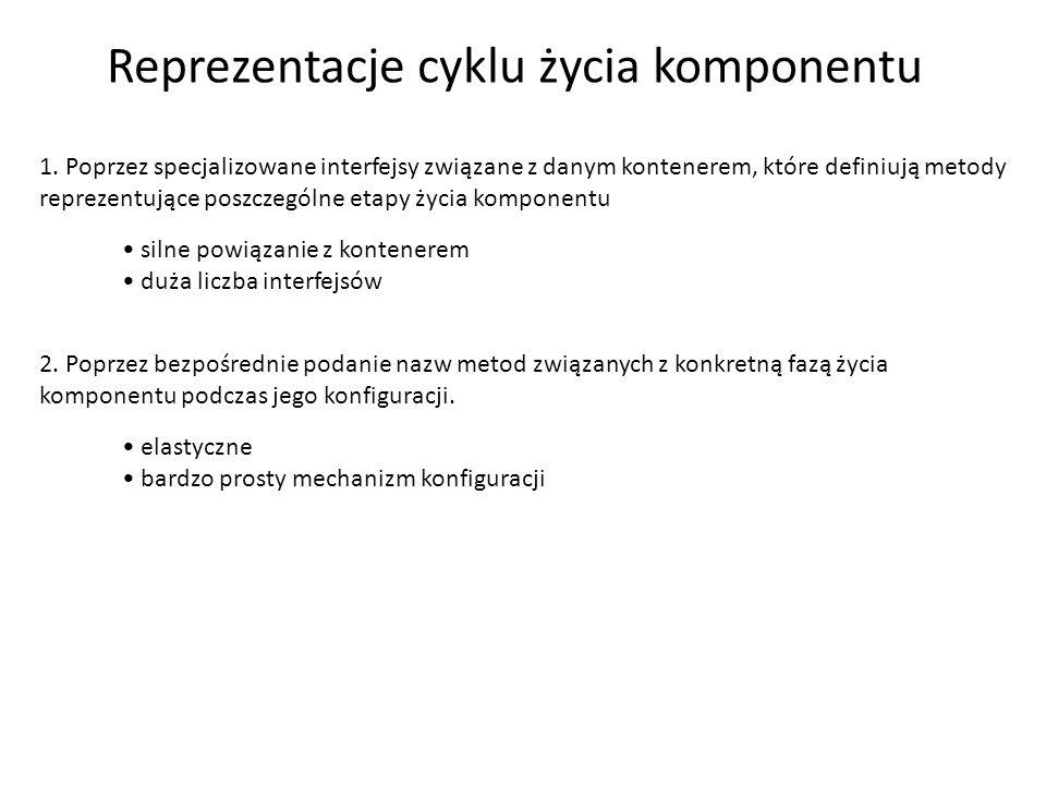 Reprezentacje cyklu życia komponentu 1. Poprzez specjalizowane interfejsy związane z danym kontenerem, które definiują metody reprezentujące poszczegó
