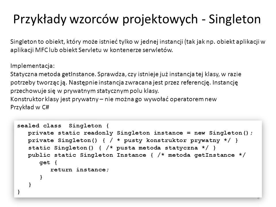 Fabryka obiektów 19 class WinFactory extends GUIFactory { public Button createButton() { return new WinButton(); } } class WinFactory extends GUIFactory { public Button createButton() { return new WinButton(); } } class OSXFactory extends GUIFactory { public Button createButton() { return new OSXButton(); } } class OSXFactory extends GUIFactory { public Button createButton() { return new OSXButton(); } } abstract class Button { public abstract void paint(); } class WinButton extends Button { public void paint() { System.out.println( Przycisk WinButton ); } } class WinButton extends Button { public void paint() { System.out.println( Przycisk WinButton ); } } class OSXButton extends Button { public void paint() { System.out.println( Przycisk OSXButton ); } } class OSXButton extends Button { public void paint() { System.out.println( Przycisk OSXButton ); } } public class Application { public static void main(String[] args) { GUIFactory factory = GUIFactory.getFactory(); Button button = factory.createButton(); button.paint(); } public class Application { public static void main(String[] args) { GUIFactory factory = GUIFactory.getFactory(); Button button = factory.createButton(); button.paint(); }