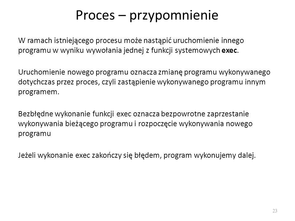 Proces – przypomnienie 23 W ramach istniejącego procesu może nastąpić uruchomienie innego programu w wyniku wywołania jednej z funkcji systemowych exe