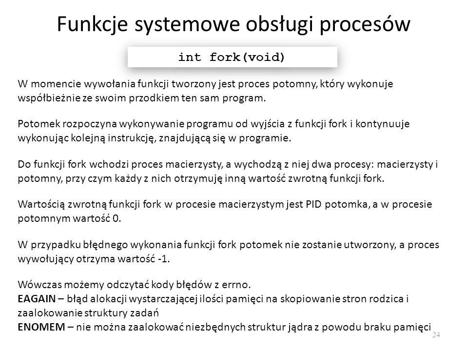Funkcje systemowe obsługi procesów 24 int fork(void) W momencie wywołania funkcji tworzony jest proces potomny, który wykonuje współbieżnie ze swoim p
