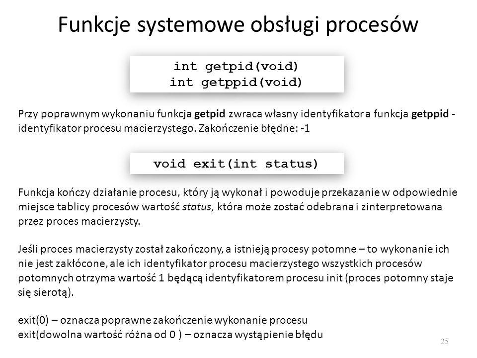 Funkcje systemowe obsługi procesów 25 int getpid(void) int getppid(void) int getpid(void) int getppid(void) Funkcja kończy działanie procesu, który ją
