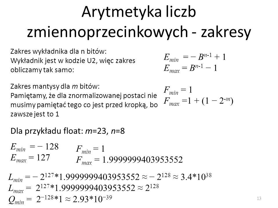 Arytmetyka liczb zmiennoprzecinkowych - zakresy 13 Zakres wykładnika dla n bitów: Wykładnik jest w kodzie U2, więc zakres obliczamy tak samo: E min = B n-1 + 1 E max = B n-1 1 Zakres mantysy dla m bitów: Pamiętamy, że dla znormalizowanej postaci nie musimy pamiętać tego co jest przed kropką, bo zawsze jest to 1 F min = 1 F max =1 + (1 2 -m ) Dla przykładu float: m=23, n=8 E min = 128 E max = 127 F min = 1 F max = 1.9999999403953552 L min = 2 127 *1.9999999403953552 2 128 3.4*10 38 L max = 2 127 *1.9999999403953552 2 128 Q min = 2 128 *1 2.93*10 39