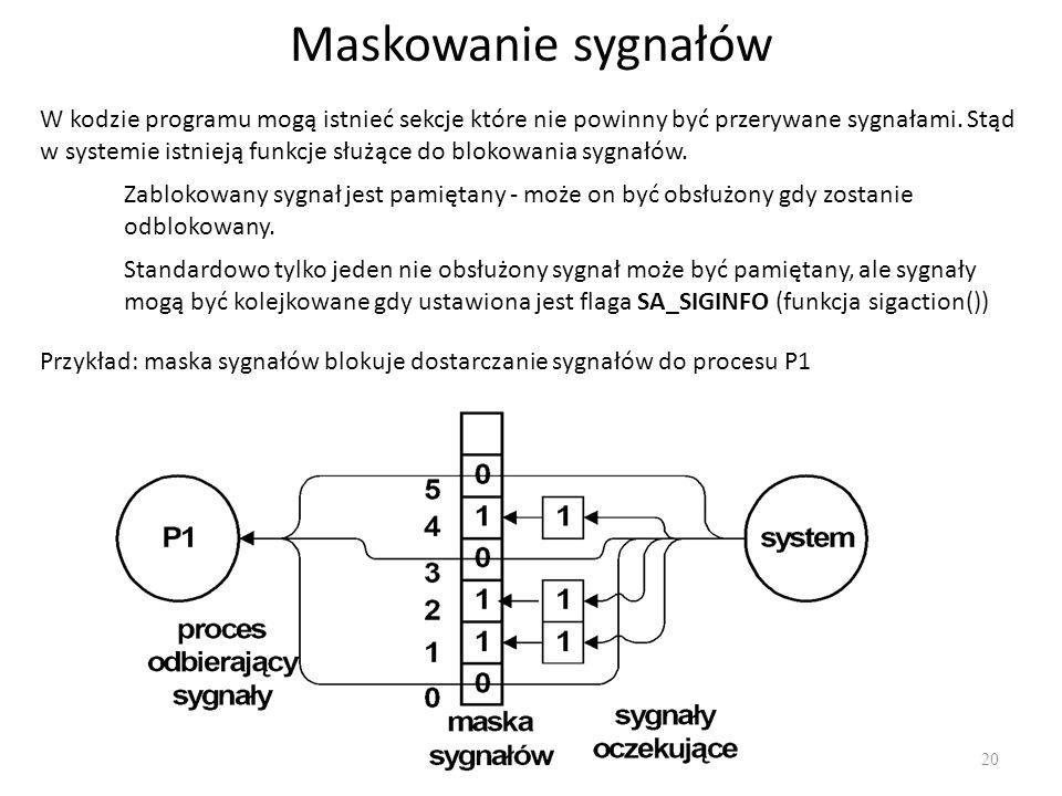 Maskowanie sygnałów 20 W kodzie programu mogą istnieć sekcje które nie powinny być przerywane sygnałami. Stąd w systemie istnieją funkcje służące do b