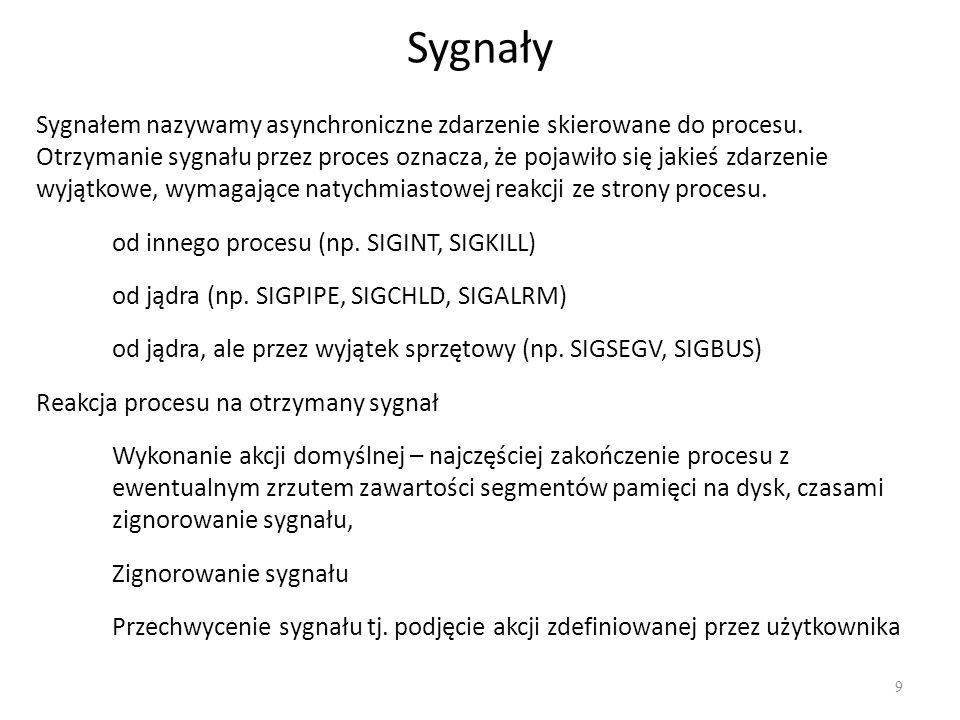 Sygnały 9 Sygnałem nazywamy asynchroniczne zdarzenie skierowane do procesu. Otrzymanie sygnału przez proces oznacza, że pojawiło się jakieś zdarzenie