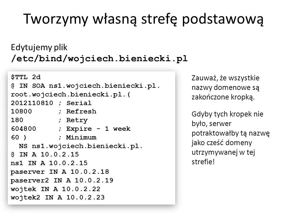 Tworzymy własną strefę podstawową Edytujemy plik /etc/bind/wojciech.bieniecki.pl $TTL 2d @ IN SOA ns1.wojciech.bieniecki.pl. root.wojciech.bieniecki.p