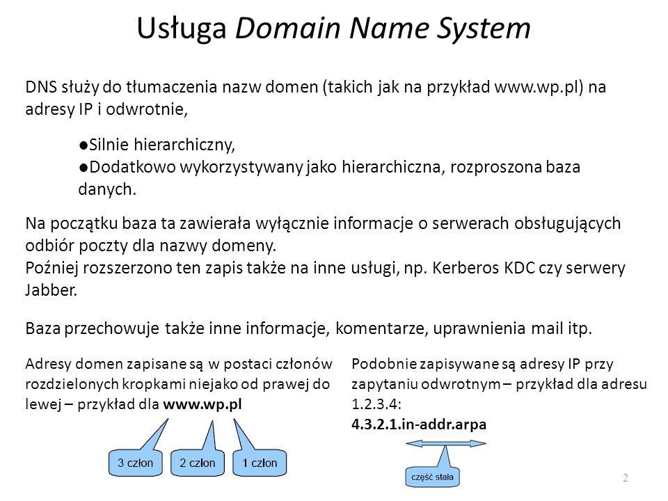 Serwer zapasowy DNS Konfigurujemy DNS na drugim serwerze Edytujemy plik named.conf.local zone wojciech.bieniecki.pl { type slave; file /etc/bind/slave/wojciech.bieniecki.pl ; masters { 10.0.2.15 }; }; zone wojciech.bieniecki.pl { type slave; file /etc/bind/slave/wojciech.bieniecki.pl ; masters { 10.0.2.15 }; }; należy utworzyć katalog /etc/bind/slave i zmienić właściciela na bind # mkdir /etc/bind/slave # chown bind.bind /etc/bind/slave Poprawność konfiguracji sprawdzamy w pliku /var/log/daemon.log