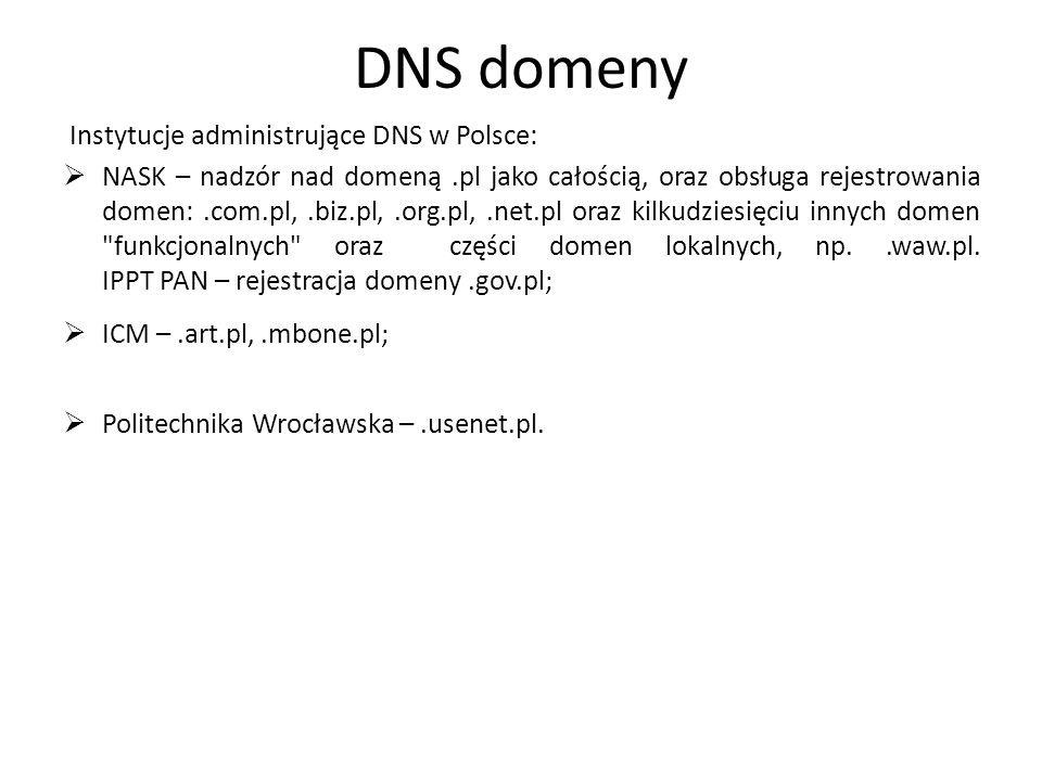 DNS domeny Instytucje administrujące DNS w Polsce: NASK – nadzór nad domeną.pl jako całością, oraz obsługa rejestrowania domen:.com.pl,.biz.pl,.org.pl