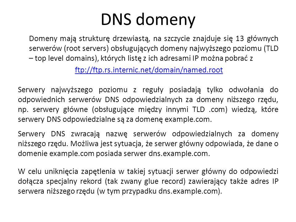 DNS domeny Domeny mają strukturę drzewiastą, na szczycie znajduje się 13 głównych serwerów (root servers) obsługujących domeny najwyższego poziomu (TL