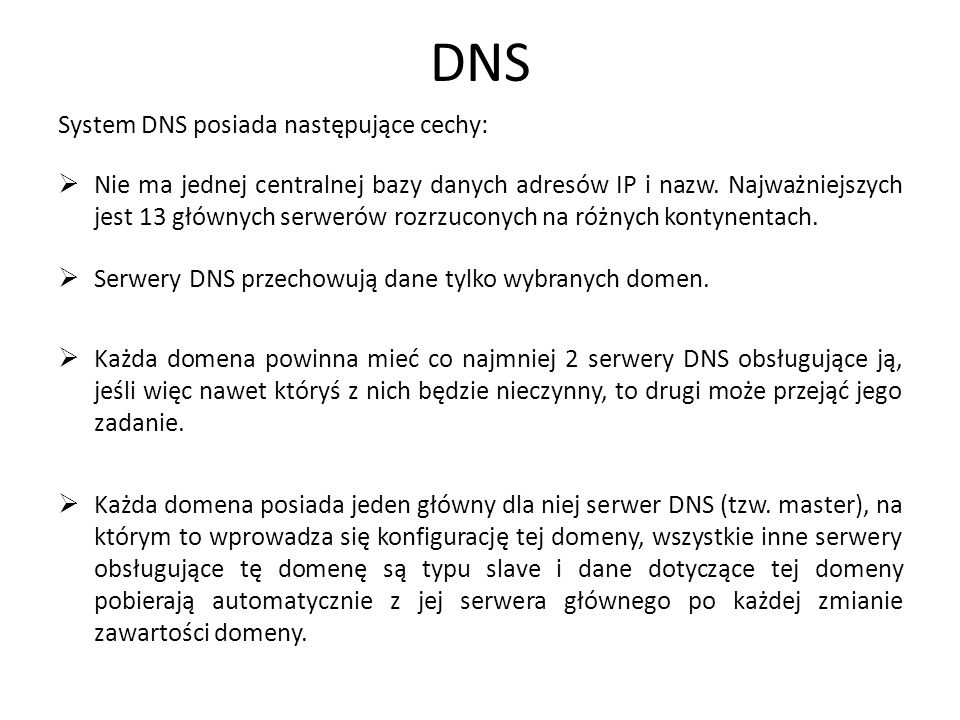 8 Przykład użycia hierarchii w DNS Klient szukający adresu IP dla nazwy www.wp.pl Strefa główna.