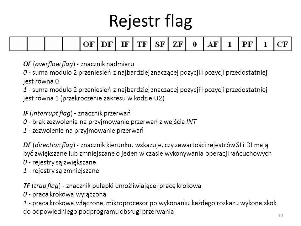 Rejestr flag 10 OF (overflow flag) - znacznik nadmiaru 0 - suma modulo 2 przeniesień z najbardziej znaczącej pozycji i pozycji przedostatniej jest rów
