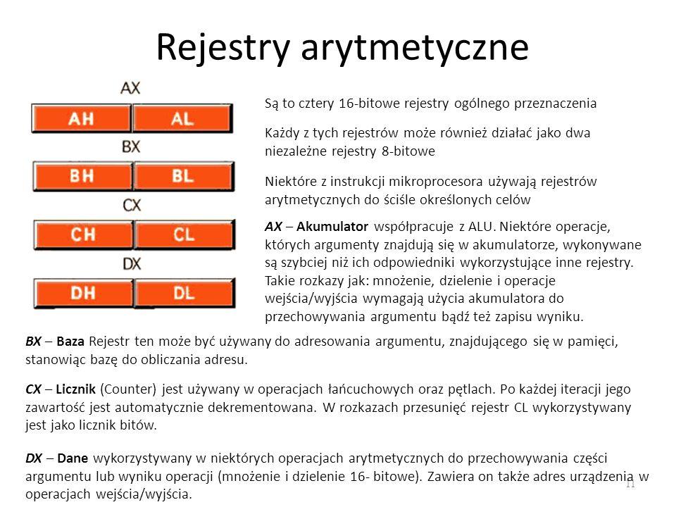 Rejestry arytmetyczne 11 Są to cztery 16-bitowe rejestry ogólnego przeznaczenia Każdy z tych rejestrów może również działać jako dwa niezależne rejest
