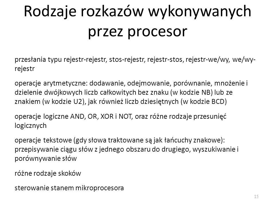Rodzaje rozkazów wykonywanych przez procesor 15 przesłania typu rejestr-rejestr, stos-rejestr, rejestr-stos, rejestr-we/wy, we/wy- rejestr operacje ar