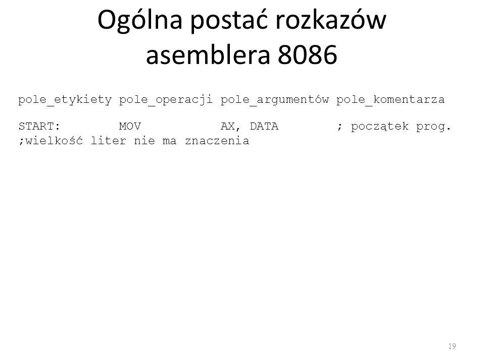 Ogólna postać rozkazów asemblera 8086 19 pole_etykiety pole_operacji pole_argumentów pole_komentarza START: MOV AX, DATA ; początek prog. ;wielkość li