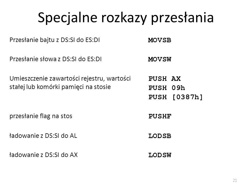 Specjalne rozkazy przesłania 21 Przesłanie bajtu z DS:SI do ES:DI MOVSB Przesłanie słowa z DS:SI do ES:DI MOVSW Umieszczenie zawartości rejestru, wart