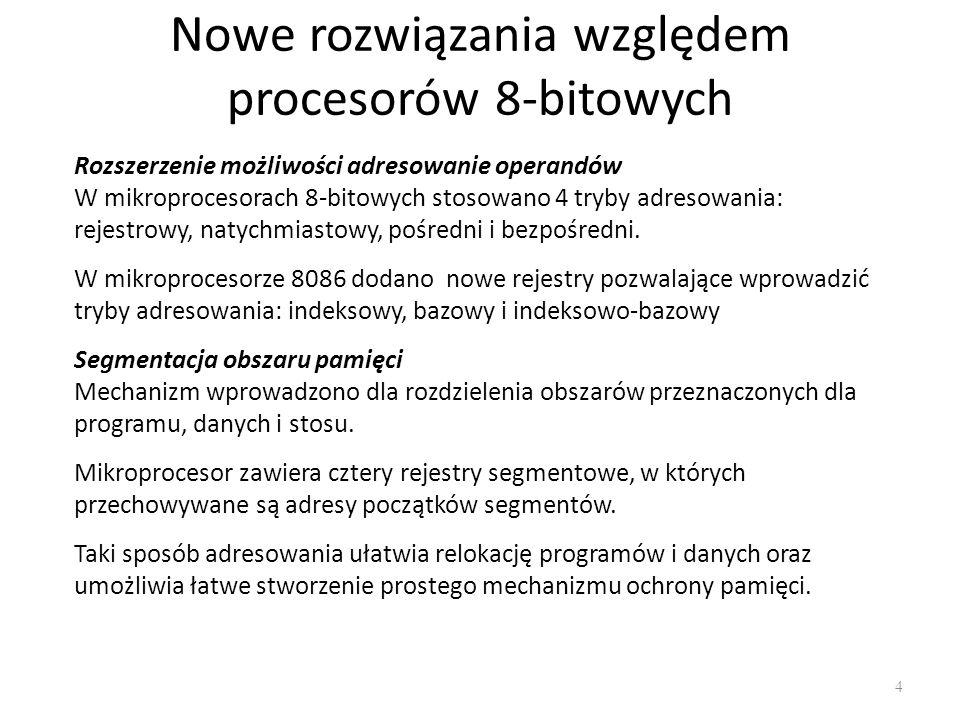 Rodzaje adresowania 8086 45 Pośrednie przez rejestr indeksowy i przemieszczenie MOV DI,3 MOV SI,7 MOV AX,[SI+5] ; DS:SI+5 MOV [DI+3],BX ; ES:DI+3 Pośrednie przez rejestr bazowy, indeksowy i przemieszczenie MOV SI,3 MOV BX,2 MOV BP,1 MOV DI,4 MOV DX,45 MOV [BP+DI+4],DX ; SS:BP+DI+4 MOV AX,[BX+SI+1] ; DS:BX+SI+1 MOV CX,[DI+BP+1] ; SS:DI+BP+1