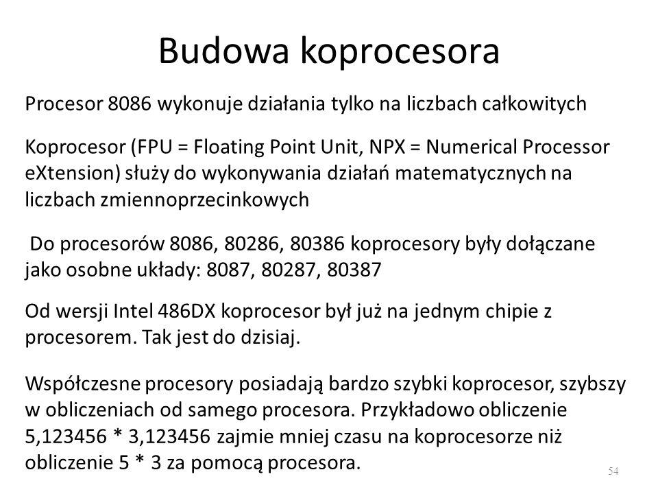 Budowa koprocesora 54 Procesor 8086 wykonuje działania tylko na liczbach całkowitych Koprocesor (FPU = Floating Point Unit, NPX = Numerical Processor