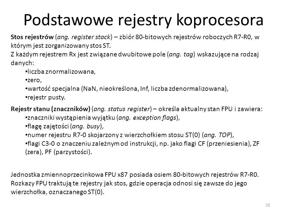 Podstawowe rejestry koprocesora 56 Stos rejestrów (ang. register stack) – zbiór 80-bitowych rejestrów roboczych R7-R0, w którym jest zorganizowany sto