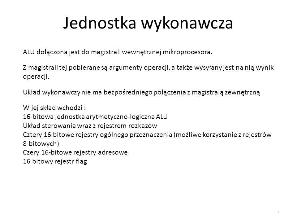 Rejestr znaczników (flag) 8 Flagi zostały podzielone na dwie grupy, tj.