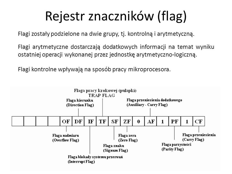 Rejestr flag 9 SF (sign flag) - znacznik znaku - równy najbardziej znaczącemu bitowi wyniku 0 - wynik operacji dodatni 1 - wynik operacji ujemny ZF (zero flag) - znacznik zera 0 - wynik operacji różny od zera 1 - wynik operacji równy zeru PF (parity flag) - znacznik parzystości - ustawiany w zależności od liczby jedynek w najmniej znaczących 8 bitach wyniku 0 liczba jedynek w wyniku operacji nieparzysta 1 liczba jedynek w wyniku operacji parzysta AF (auxiliary carry flag) - znacznik przeniesienia połówkowego (pomocniczego) 0 - brak przeniesienia pomiędzy trzecim i czwartym bitem bajta (BCD) 1 - występuje przeniesienie CF (carry flag) - znacznik przeniesienia 0 - wynik operacji arytmetycznej nie powoduje powstania przeniesienia z najbardziej znaczącego bitu 1 - wynik takie przeniesienie powoduje