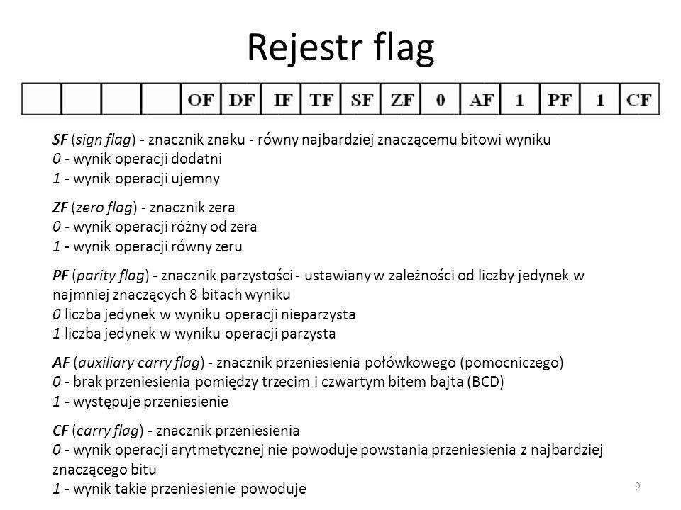 Rejestr flag 10 OF (overflow flag) - znacznik nadmiaru 0 - suma modulo 2 przeniesień z najbardziej znaczącej pozycji i pozycji przedostatniej jest równa 0 1 - suma modulo 2 przeniesień z najbardziej znaczącej pozycji i pozycji przedostatniej jest równa 1 (przekroczenie zakresu w kodzie U2) IF (interrupt flag) - znacznik przerwań 0 - brak zezwolenia na przyjmowanie przerwań z wejścia INT 1 - zezwolenie na przyjmowanie przerwań DF (direction flag) - znacznik kierunku, wskazuje, czy zawartości rejestrów SI i DI mają być zwiększane lub zmniejszane o jeden w czasie wykonywania operacji łańcuchowych 0 - rejestry są zwiększane 1 - rejestry są zmniejszane TF (trap flag) - znacznik pułapki umożliwiającej pracę krokową 0 - praca krokowa wyłączona 1 - praca krokowa włączona, mikroprocesor po wykonaniu każdego rozkazu wykona skok do odpowiedniego podprogramu obsługi przerwania