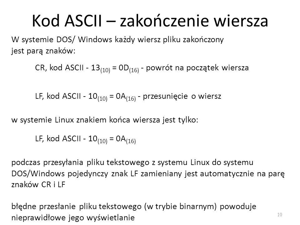 Kod ASCII – zakończenie wiersza 10 W systemie DOS/ Windows każdy wiersz pliku zakończony jest parą znaków: CR, kod ASCII - 13 (10) = 0D (16) - powrót na początek wiersza LF, kod ASCII - 10 (10) = 0A (16) - przesunięcie o wiersz w systemie Linux znakiem końca wiersza jest tylko: LF, kod ASCII - 10 (10) = 0A (16) podczas przesyłania pliku tekstowego z systemu Linux do systemu DOS/Windows pojedynczy znak LF zamieniany jest automatycznie na parę znaków CR i LF błędne przesłanie pliku tekstowego (w trybie binarnym) powoduje nieprawidłowe jego wyświetlanie