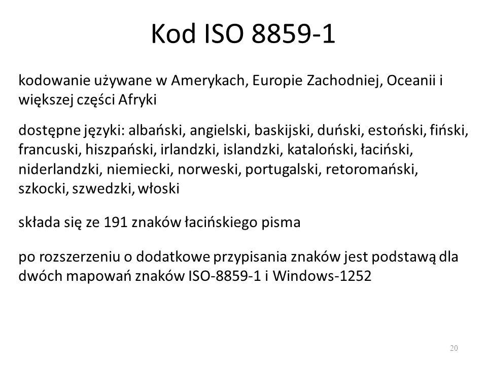 Kod ISO 8859-1 20 kodowanie używane w Amerykach, Europie Zachodniej, Oceanii i większej części Afryki dostępne języki: albański, angielski, baskijski, duński, estoński, fiński, francuski, hiszpański, irlandzki, islandzki, kataloński, łaciński, niderlandzki, niemiecki, norweski, portugalski, retoromański, szkocki, szwedzki, włoski składa się ze 191 znaków łacińskiego pisma po rozszerzeniu o dodatkowe przypisania znaków jest podstawą dla dwóch mapowań znaków ISO-8859-1 i Windows-1252