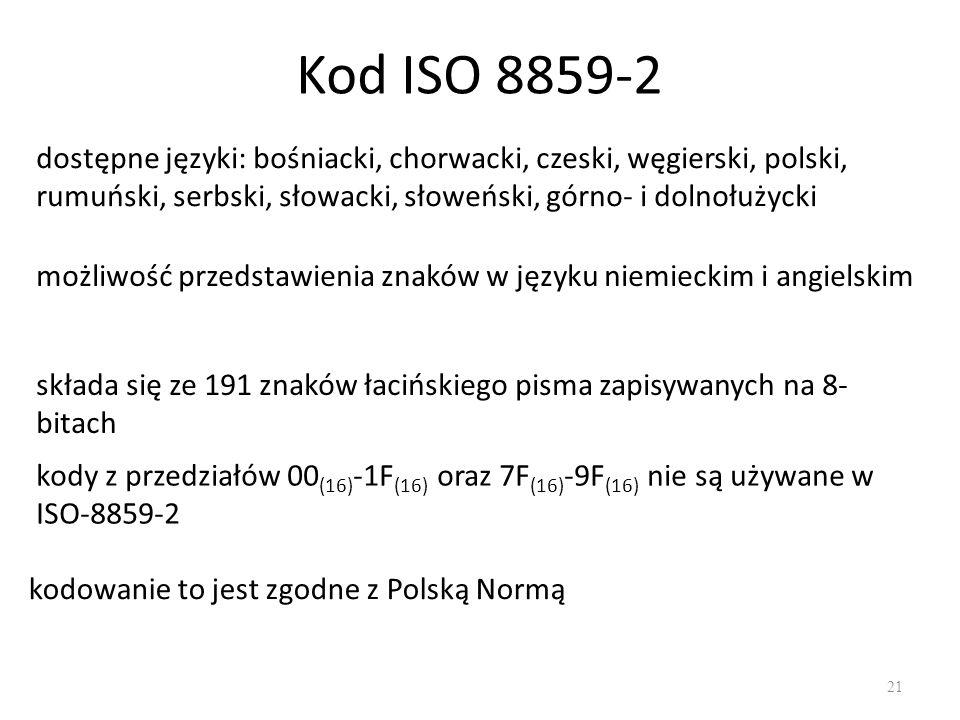 Kod ISO 8859-2 21 dostępne języki: bośniacki, chorwacki, czeski, węgierski, polski, rumuński, serbski, słowacki, słoweński, górno- i dolnołużycki możliwość przedstawienia znaków w języku niemieckim i angielskim składa się ze 191 znaków łacińskiego pisma zapisywanych na 8- bitach kody z przedziałów 00 (16) -1F (16) oraz 7F (16) -9F (16) nie są używane w ISO-8859-2 kodowanie to jest zgodne z Polską Normą