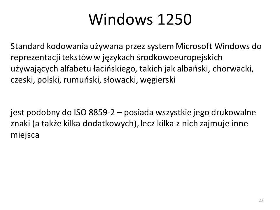 Windows 1250 23 Standard kodowania używana przez system Microsoft Windows do reprezentacji tekstów w językach środkowoeuropejskich używających alfabetu łacińskiego, takich jak albański, chorwacki, czeski, polski, rumuński, słowacki, węgierski jest podobny do ISO 8859-2 – posiada wszystkie jego drukowalne znaki (a także kilka dodatkowych), lecz kilka z nich zajmuje inne miejsca