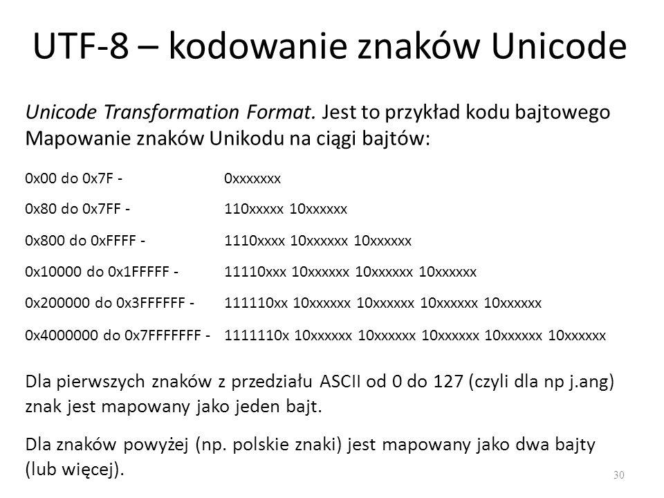 UTF-8 – kodowanie znaków Unicode 30 Unicode Transformation Format.