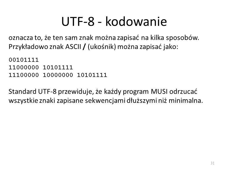 UTF-8 - kodowanie 31 oznacza to, że ten sam znak można zapisać na kilka sposobów.