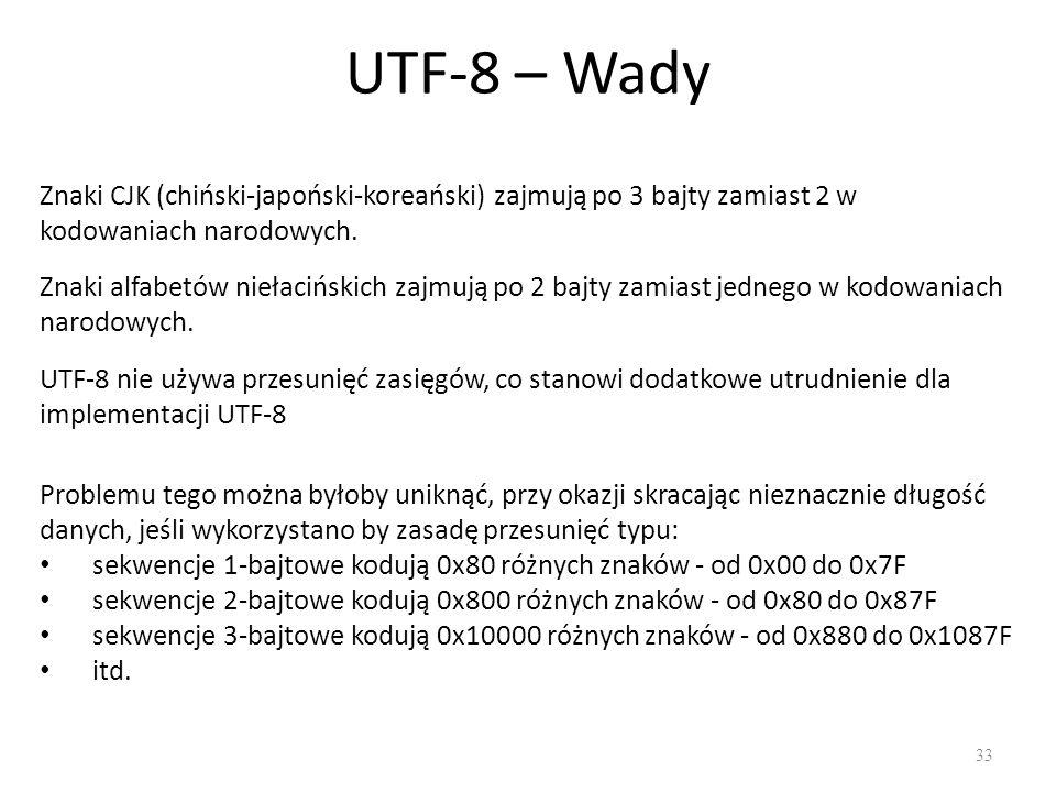 UTF-8 – Wady 33 Znaki CJK (chiński-japoński-koreański) zajmują po 3 bajty zamiast 2 w kodowaniach narodowych.