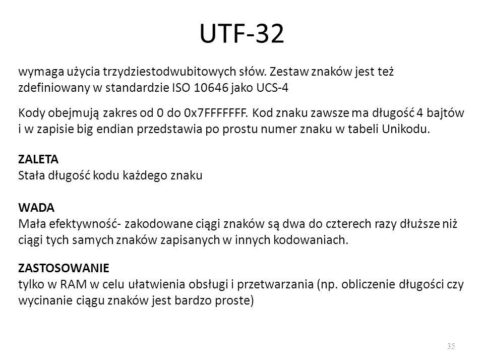 UTF-32 35 Kody obejmują zakres od 0 do 0x7FFFFFFF.